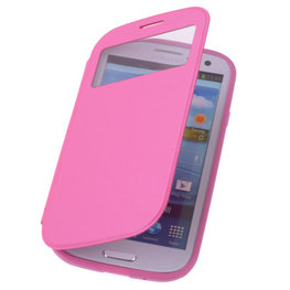 View Cover Pink Hoesje voor Samsung Galaxy S3 Stand Case TPU Book-style