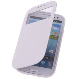 View Cover Wit Hoesje voor Samsung Galaxy S3 Stand Case TPU Book-style