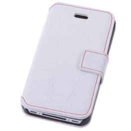 Wit Croco iPhone 4 4s Book/Wallet Case/Cover
