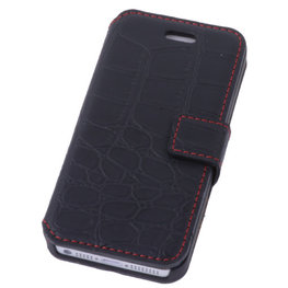 Zwart Croco iPhone 5 5s Book/Wallet Case/Cover