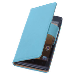 PU Leder Turquoise Hoesje voor Nokia Lumia 1520 Book/Wallet Case/Cover