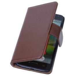 PU Leder Bruin Hoesje voor LG L9 2 Book/Wallet Case/Cover