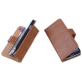 Bestcases Slang Bruin Hoesje voor Huawei Ascend Y530 Bookcase Cover