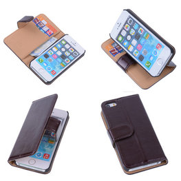 PU Leder Mocca iPhone 5 5s Book/Wallet Case/Cover