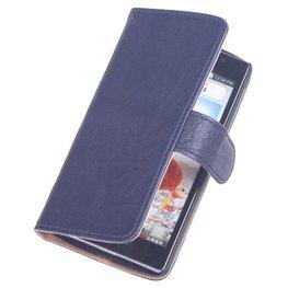 BestCases Navy Blue Hoesje voor LG L65 Luxe Echt Lederen Booktype