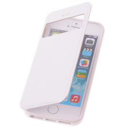 View Case Wit Hoesje voor Apple iPhone 5 5s TPU Bookcover