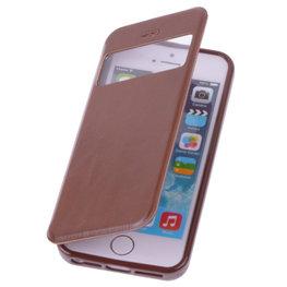 View Case Bruin Hoesje voor Apple iPhone 5 5s TPU Bookcover