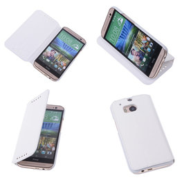 Bestcases Wit Map Case Book Cover Hoesje voor HTC One M8