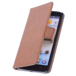 BestCases Bruin Hoesje voor Huawei Ascend P6 Luxe Echt Lederen Booktype