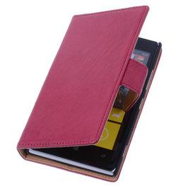 BestCases Fuchsia Luxe Echt Lederen Book Wallet Hoesje voor Nokia Lumia 925