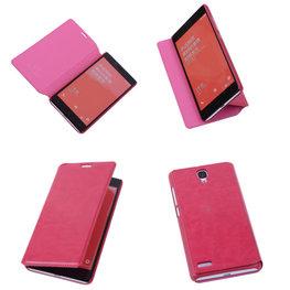 Bestcases Fuchsia Hoesje voor XiaoMi Redmi Note Map Case Book Cover