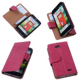 BestCases Fuchsia Luxe Echt Lederen Booktype Hoesje voor LG L70