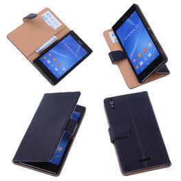 BestCases Navy Blue Hoesje voor Sony Xperia T3 Stand Echt Lederen Booktype