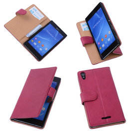 BestCases Fuchsia Hoesje voor Sony Xperia T3 Stand Echt Lederen Booktype