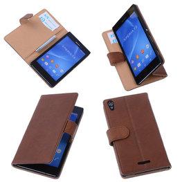 BestCases Bruin Hoesje voor Sony Xperia T3 Stand Echt Lederen Booktype