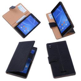 BestCases Zwart Hoesje voor Sony Xperia T3 Stand Echt Lederen Booktype