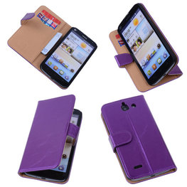 PU Leder Lila Hoesje voor Huawei Ascend G730 Book/Wallet Case/Cover
