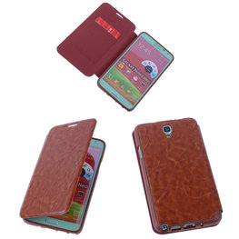 Bruin TPU Book Case Flip Cover Motief Hoesje voor Samsung Galaxy Note 3 Neo