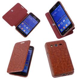 Bestcases Bruin TPU Book Case Flip Cover Motief Hoesje voor Samsung Galaxy Core 2