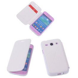 Bestcases Wit TPU Book Case Flip Cover Motief Hoesje voor Samsung Galaxy Core Plus