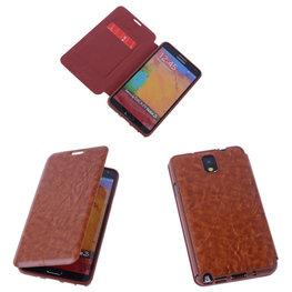 Bestcases Bruin TPU Book Case Flip Cover Motief Hoesje voor Samsung Galaxy Note 3