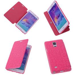 Bestcases Pink Hoesje voor Samsung Galaxy Note 4 TPU Book Case Flip Cover Motief