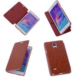 Bestcases Bruin Hoesje voor Samsung Galaxy Note 4 TPU Book Case Flip Cover Motief