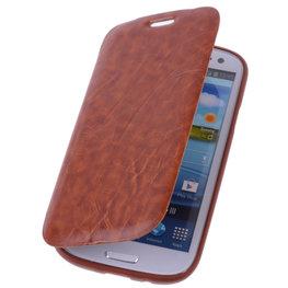 Bestcases Bruin TPU Book Case Flip Cover Motief Hoesje voor Samsung Galaxy S3 / S3 Neo