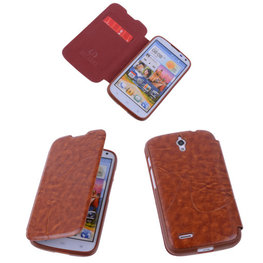 Bestcases Bruin Hoesje voor Huawei Ascend G610 TPU Book Case Cover Motief