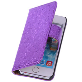 Glamour Purple Echt Leer Wallet Case Hoesje voor Apple iPhone 4 4S