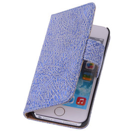 Antiek Blue White Echt Leer Wallet Case Hoesje voor Apple iPhone 4 4S