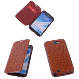 Bestcases Bruin TPU Book Case Flip Cover Motief Hoesje voor Samsung Galaxy Note 2