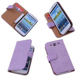 Antiek Purple Hoesje voor Samsung Galaxy S3 Neo Echt Leer Wallet Case