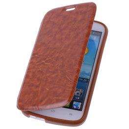 Bestcases Bruin Hoesje voor Huawei Ascend G740 TPU Book Case Cover Motief