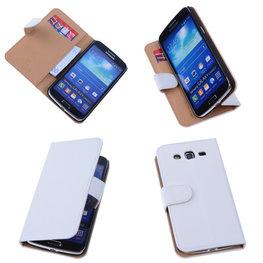 PU Leder Wit Hoesje voor Samsung Galaxy Grand 2 Book/Wallet Case/Cover