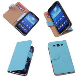 PU Leder Turquoise Hoesje voor Samsung Galaxy Grand 2 Book/Wallet Case/Cover