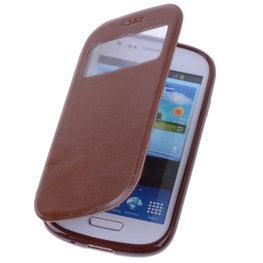 View Case Bruin Hoesje voor Samsung Galaxy Trend Plus TPU Bookcover