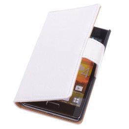 Bestcases Vintage Wit Book Cover Hoesje voor LG Optimus L5