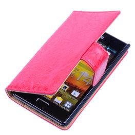 Bestcases Vintage Rood Book Cover Hoesje voor LG Optimus L5