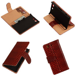 """""""Slang"""" Rood Hoesje voor Sony Xperia Z3 Compact Bookcase Wallet Cover"""