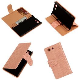 """""""Slang"""" Pink Hoesje voor Sony Xperia Z3 Compact Bookcase Wallet Cover"""