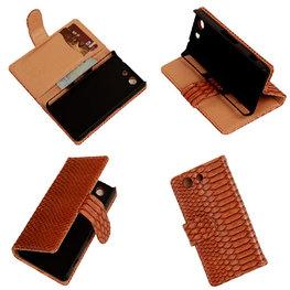 """Slang"" Bruin Hoesje voor Sony Xperia Z3 Compact Bookcase Wallet Cover"