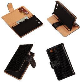 """Slang"" Zwart Hoesje voor Sony Xperia Z3 Compact Bookcase Wallet Cover"