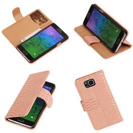 BC  Slang Pink Hoesje voor Samsung Galaxy Alpha Bookcase Cover