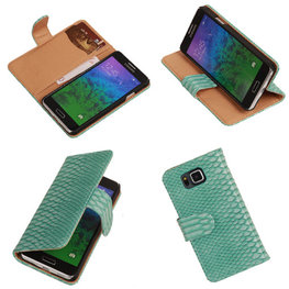 BC Slang Turquoise Hoesje voor Samsung Galaxy Alpha Bookcase Cover