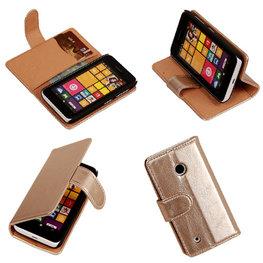 PU Leder Goud Hoesje voor Nokia Lumia 530 Book/Wallet Case/Cover