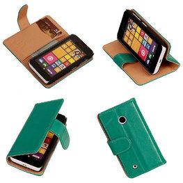 PU Leder Groen Hoesje voor Nokia Lumia 530 Book/Wallet Case/Cover