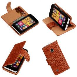 BC Slang Bruin Hoesje voor Nokia Lumia 530 Bookcase Wallet Cover
