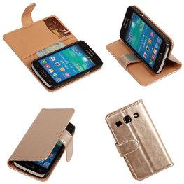 PU Leder Goud Hoesje voor Samsung Galaxy Core Plus Book/Wallet Case/Cover