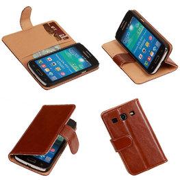 PU Leder Bruin Hoesje voor Samsung Galaxy Core Plus Book/Wallet Case/Cover